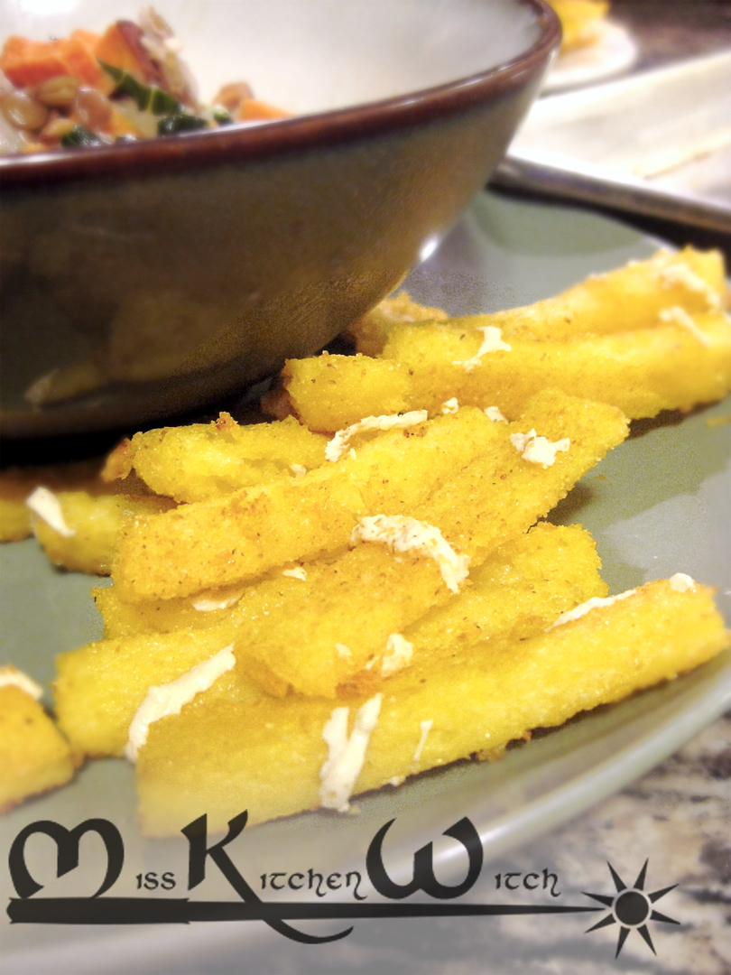 Baked Cheesy Vegan Polenta Fries
