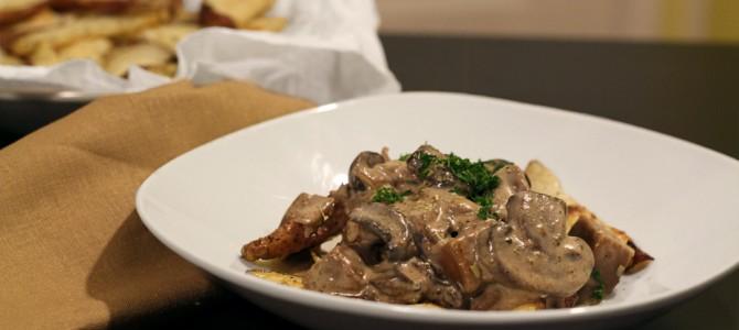 Vegan Seitan Beef and Mushroom Stroganoff