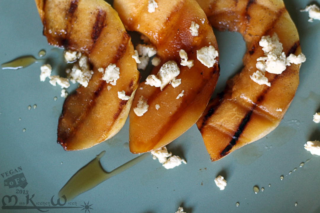 Grilled Cardamom Cantaloupe with Swiss Cheese Crumbles