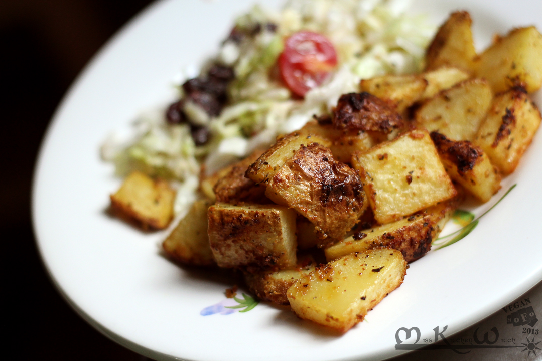 Vegan Maple Mustard Roasted Potatoes via http://MissKitchenWitch.com ...