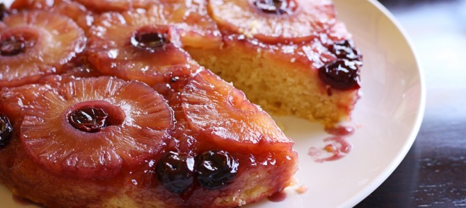 Retro Vegan Pineapple Upside-down Cake with Spiced Rum